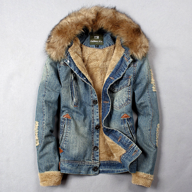 Popular Denim Jacket with Fur for Men-Buy Cheap Denim Jacket with