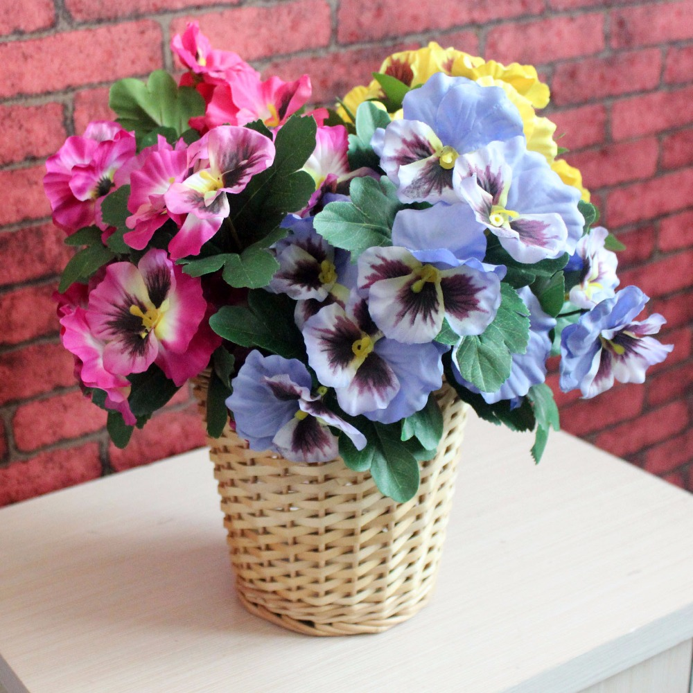 Artificial Silk Pansy With 7 Branches Artifical Silk Flower Bouquet