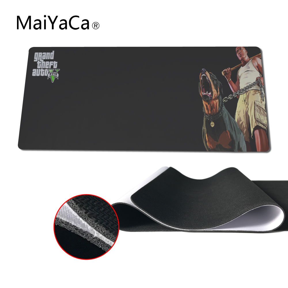 MaiYaCa Anime Grand Theft Auto V GTA5 Large Locking Edge and Not Lockedge Keyboard mouse pads Table Mat For PC Laptop Mousepad