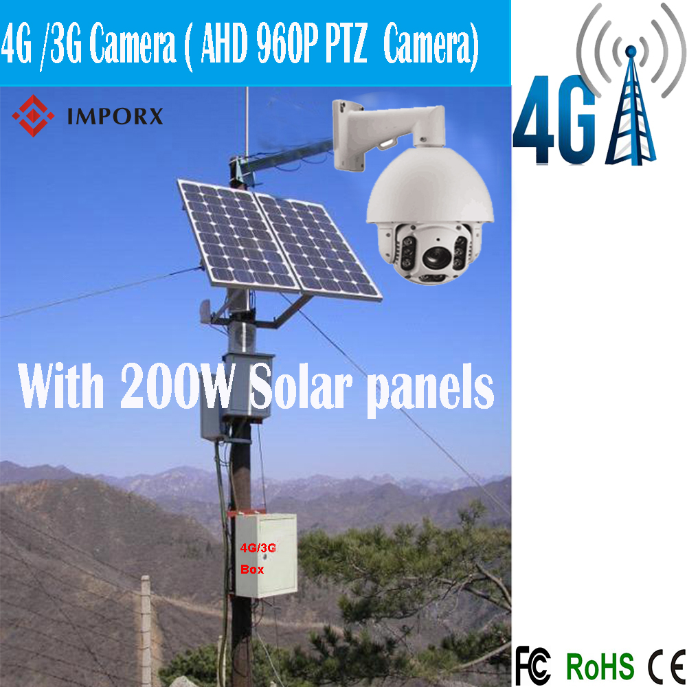 4G/3G Solar system camera outdoor 1.3MP AHD 960P 20X IR 150M laser dome PTZ cctv ip hd camera