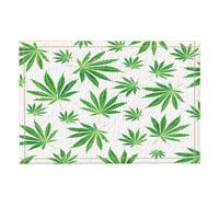 Carpet Kitchen Mats For Floor Mat Floral Leaves Decor, Watercolor Green Cannabis Sativa Leaf Print Bath Rugs, Non Slip Doormat