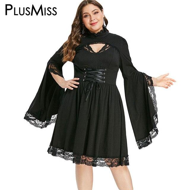PlusMiss Plus Size Gothic Bell Flare Sleeve Black Lace Party Dresses Women Vintage Retro 50s Sexy Lace Up Dress Big Size Autumn