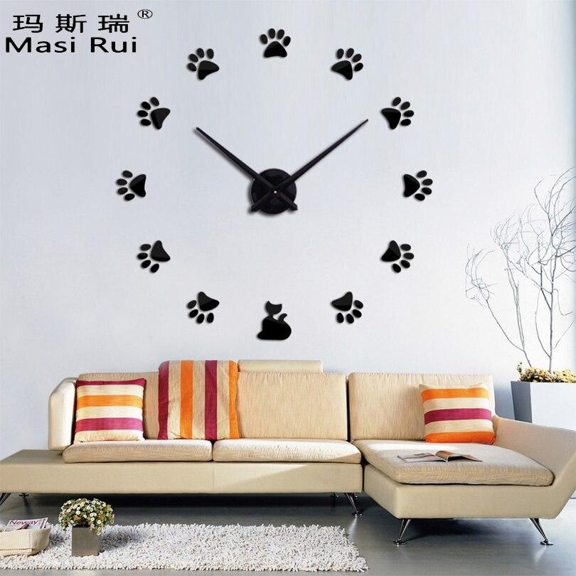 Značka Vintage velké nástěnné hodiny Moderní design 3d Akrylový křemen Zrcadlové nástěnné hodiny Reloj De Pared Obývací pokoj Horloge