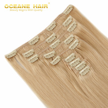 Oceane Hair #24 Dark Blonde 100g 9pcs Clip In Hair Extensions full head Straight Brazilian Remy virgin virgin hair clip ins