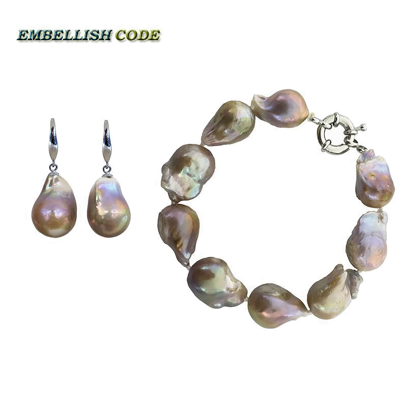 NEW baroque bracelet hook dangle earrings set large size purple golden color nucleated flameball shape pearl jewelry for womenNEW baroque bracelet hook dangle earrings set large size purple golden color nucleated flameball shape pearl jewelry for women