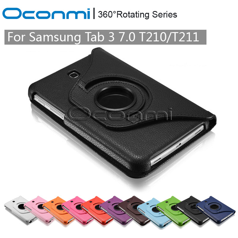 360 Rotating PU Leather case for Samsung Galaxy Tab 3 7.0 with stand function SM-T210 SM-T211 protective Tablet case cover