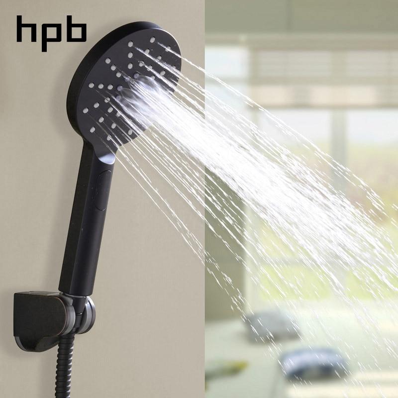 HPB round shape 3 sprayer settings water saving handheld shower heads with shower hose and bracket holder matte black H1105