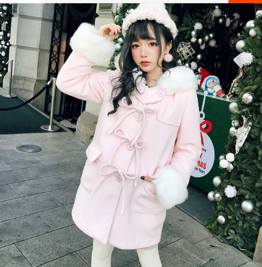 Fourrure Nouvelle D'hiver Laine Outwear Femmes Mélange Bouton Manteau Mignon Noël Rose Lolita De rouge Garniture Année Arcs Chaud 9W2EIDH