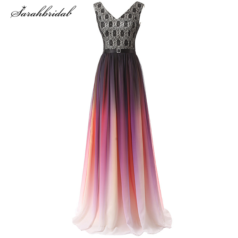 Sweety Ever Pretty Lace Long   Prom     Dresses   A Line V Neck Floor Length Sleeveless Evening   Dresses   Vestido De Festa SD342