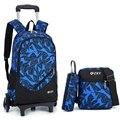 Mochila último extraíble de los niños de la escuela bolsas con ruedas 2/6 escaleras niños niñas carro mochila de equipaje bolsas