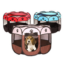 Portable Folding Pet Tent Dog House Cage Dog Cat Tent Playpen Puppy Kennel Easy Operation Octagonal Fence Outdoor Supplies(China)