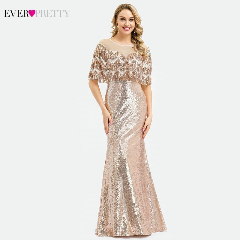 Ever Pretty Dubai Luxury Rose Gold Evening Dresses Mermaid Tassel Sequined Dresses EP00991RG Elegant Formal Party Gowns 2019