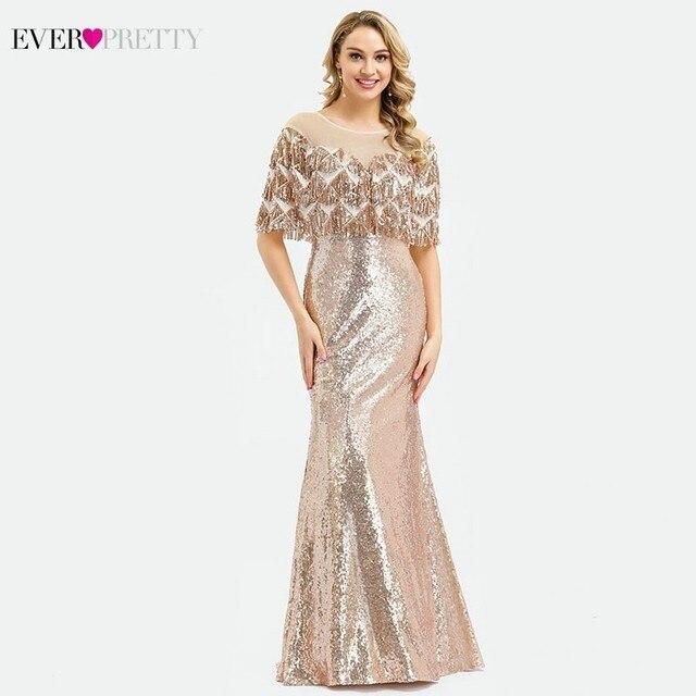 Ever Pretty Vestidos de Noche de lujo de Dubái, color oro rosa, sirena, borla, lentejuelas, EP00991RG, elegantes, formales, para fiesta, 2020