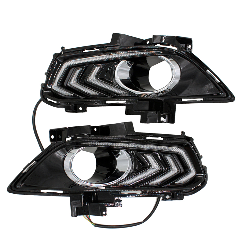 New High Bright LED Daytime Running Light Car Styling DRL Fog Lamp for Ford Mondeo 2013-2015 with Turn Signal Light 2 pcs car styling daytime running lights with fog lamp for n issan new t eana or a ltima 2013 2015 turn signal