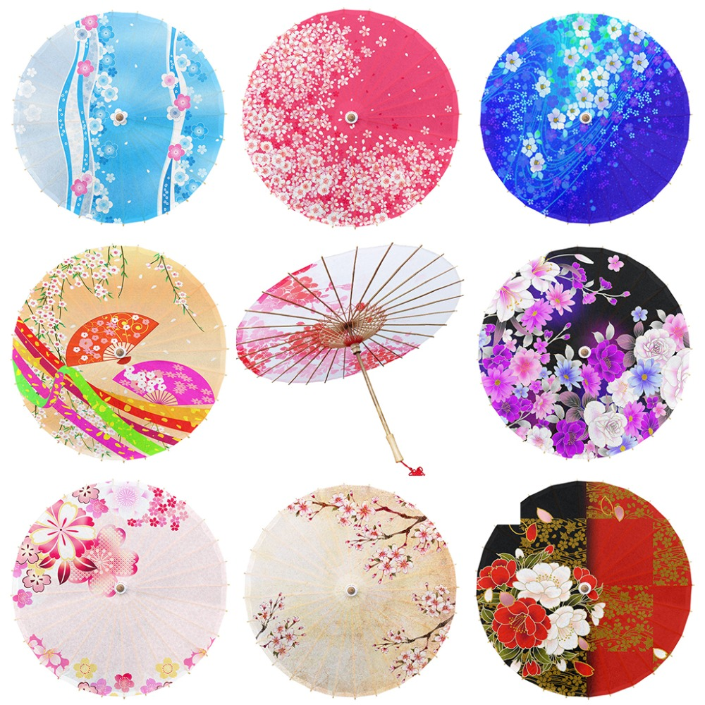 Japanese Style Oil Paper Umbrella Classical Cherry Blossom Sushi Restaurant Decoration Japan Geisha Sunshade Photo Prop Umbrella