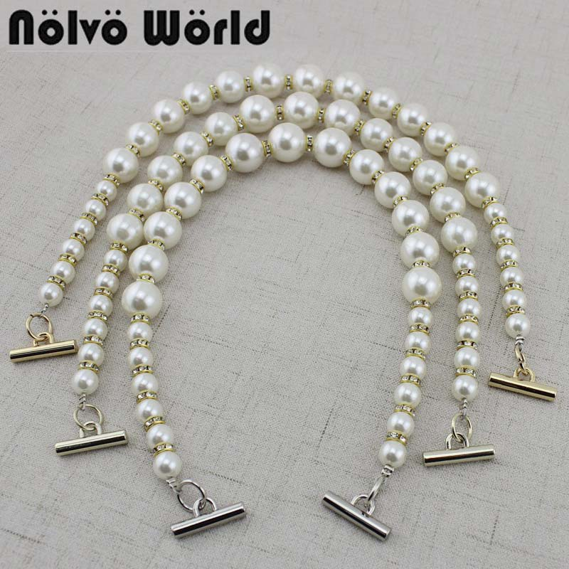 2-10 Pieces,46cm Varied Beading Ornamental Pearls Chain With 4 Kinds Small Hooks For Women Purse Bags Top Handle