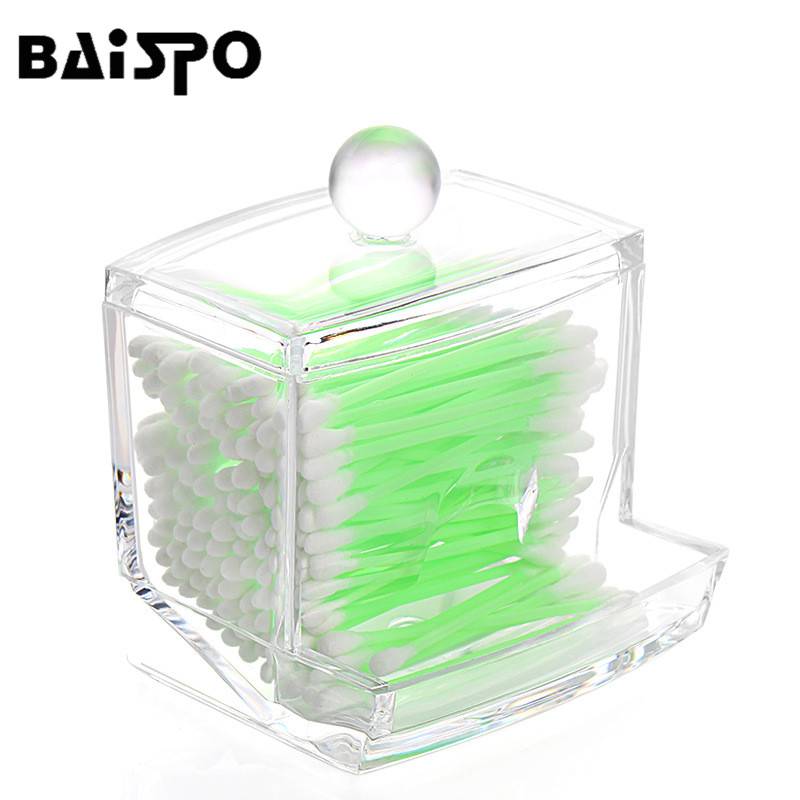 BAISPO Cosmetic Storage Clear Acrylic Cotton Swabs Organizer Box Holder Makeup Storage Box Portable Cotton Pads Container