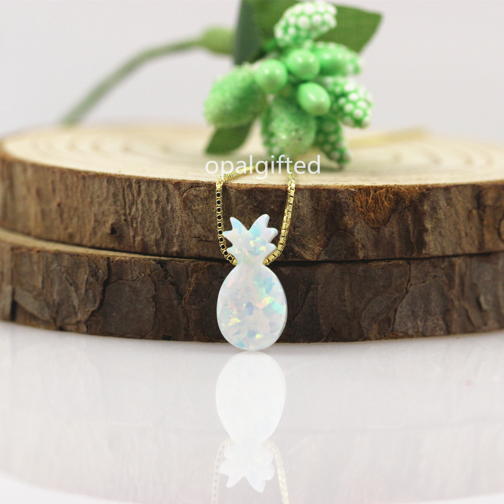 1pc Free Shipping Synthetic 7.1x14mm White OP17 Spring Pineapple Opal Necklace with wholesale price with gold chain