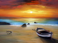 Realist Abstract Landscape Sunset Oil Painting On Canvas Impression Sea And Boat Oil Painting On Canvas For Living Room Decor