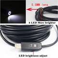 5.5mm Dia USB Endoscope Cmos 7m Long Cable Waterproof 6-led Borescope Endoscope Inspection  Tube Visual Camera metal Pipe Video