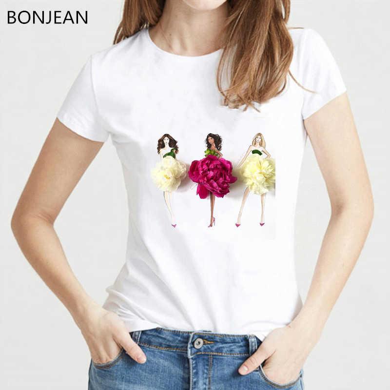 ملابس الصيف النسائية 2019 فساتين الزهور والفتيات تصميم الإبداعية تي شيرت المرأة مضحك رواج تي شيرت فام الملابس الكورية