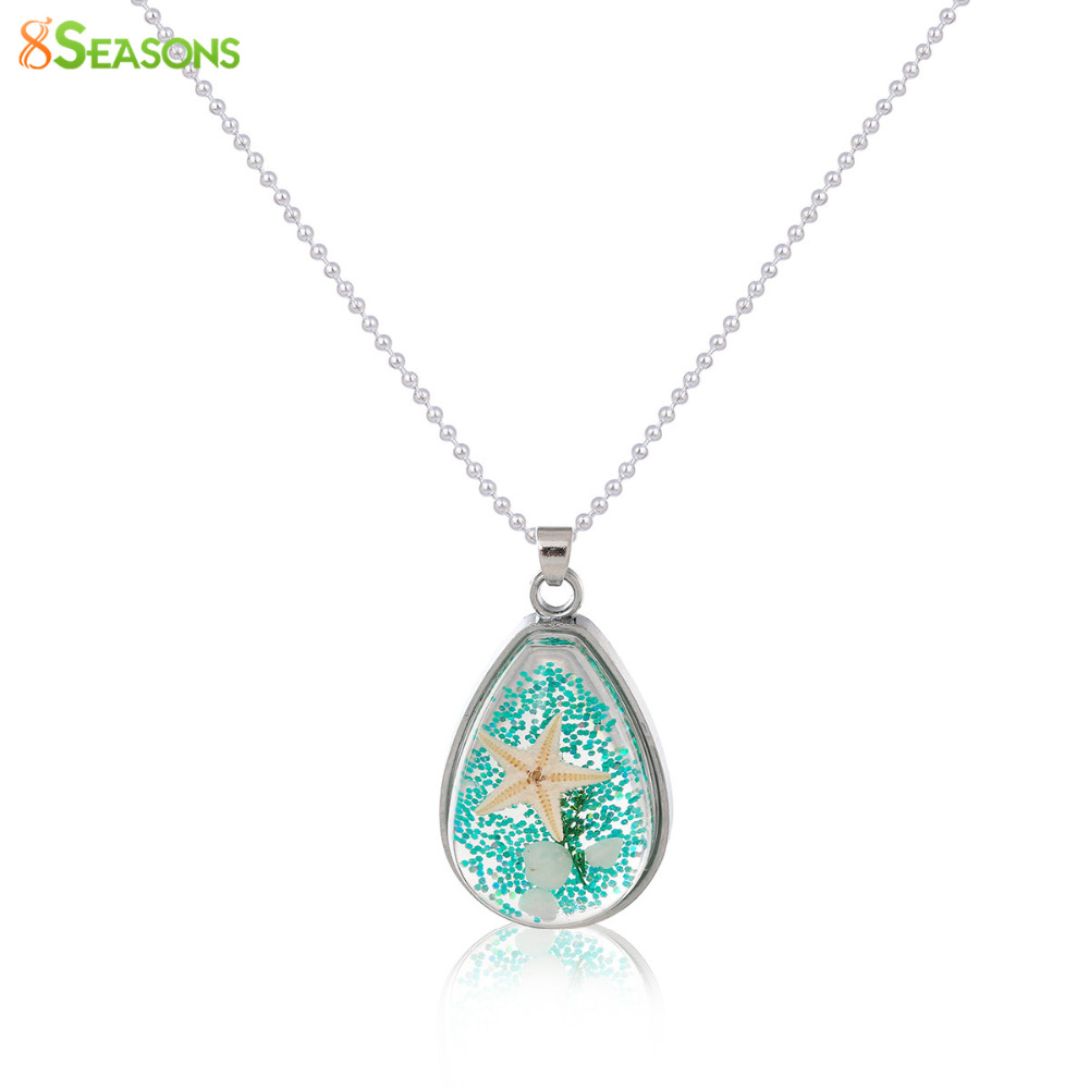 8SEASONS Handmade Boho Transparent Resin Dried Flower Necklace Ball Chain silver-color Drop 45cm(17 6/8