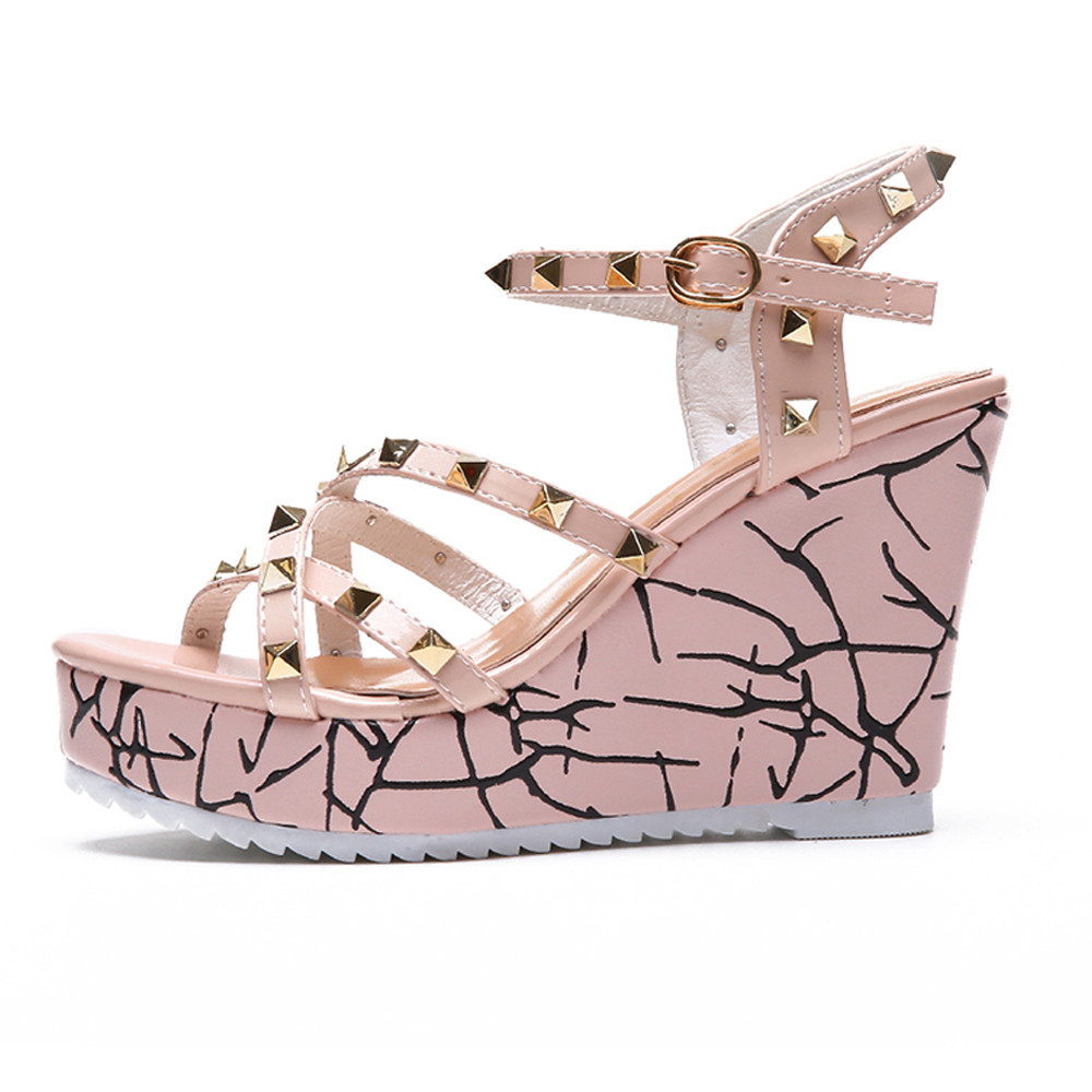 Zapatos Mujer 2018 Shoes Woman Sandals Wedge Summer Lady Fashion High Heels Sandals Elegant Rivets Women Shoes Platform Wedges 44