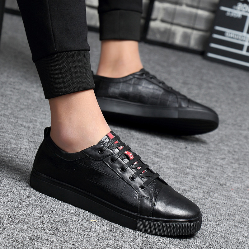 Spring New Handmade Casual Men Shoes Fashion Man Loafers Flats Moccasin Luxury Brand High Quality Split Leather Lace Up Black new 2017 fashion high quality men shoes summer breathable weaving casual men lace up flats loafers hot sale us6 15