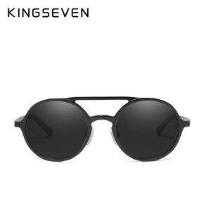 Image 5 - KINGSEVEN aluminium męskie okrągłe okulary spolaryzowane mężczyźni Punk Vintage akcesoria do okularów okulary jazdy Retro okulary przeciwsłoneczne
