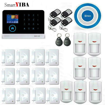 SmartYIBA APP Control Wireless Blue Siren RFID WIFI GSM Alarm System With Metal Remotes Motion Detection Alarma