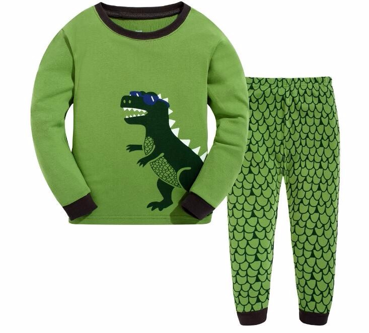 Dinosaur Pajamas Clothing-Set Girl Boys High-Quality 100%Cotton Flower Green New-Design