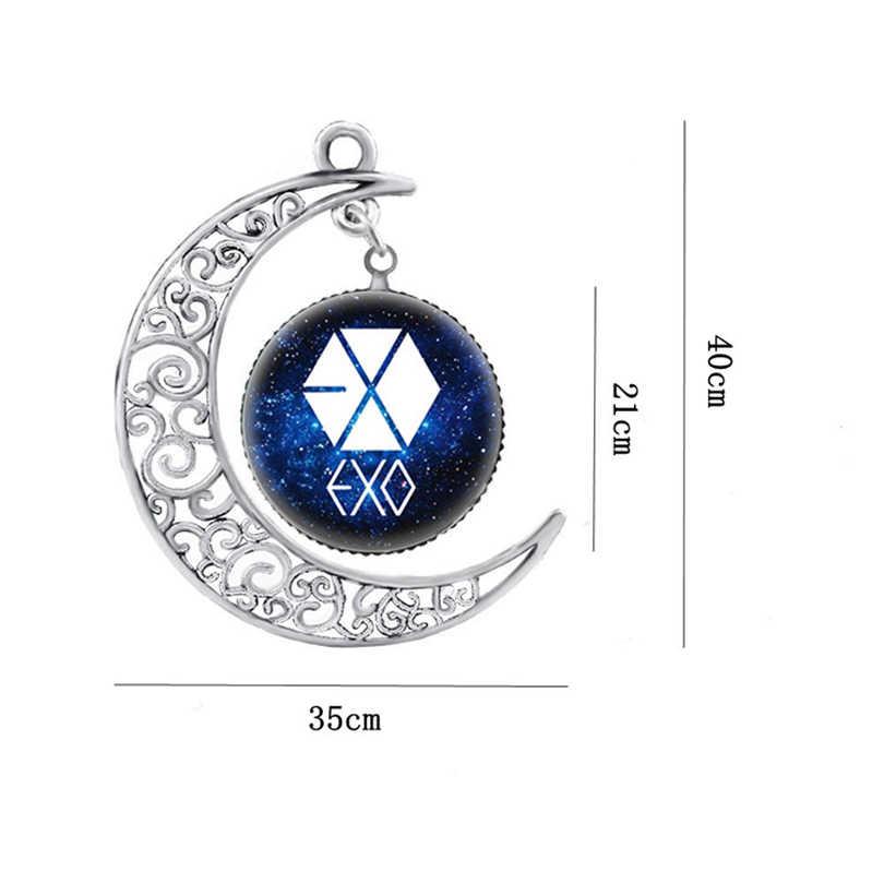 Fashion Kpop EXO Logo Moon Kalung Perak Warna Kaca Liontin Kalung untuk Wanita Wanita Perhiasan Pernyataan