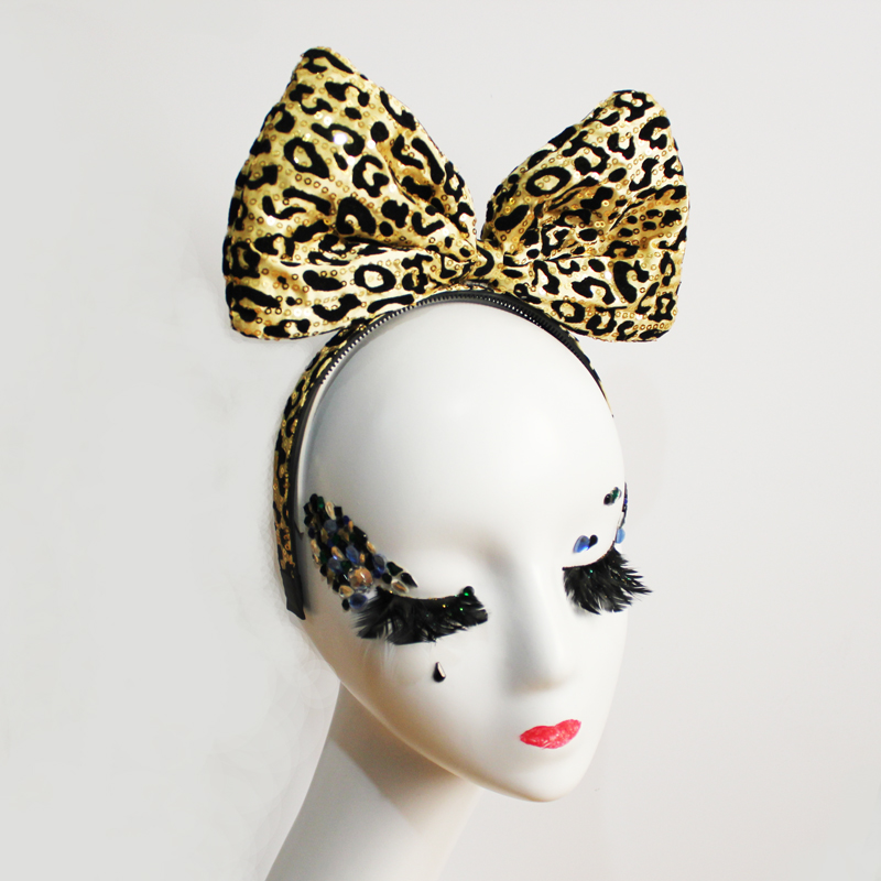 Leopard Big Bow Knot Hair Band 80S Fancy Dress Party Accessories Goth paillette Bowknot Headband