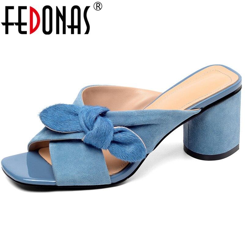 FEDONAS mode femmes Design classique papillon noeud doux sandales d'été chaussures femme décontractées fête talons carrés sandales-in Sandales femme from Chaussures    1