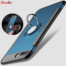Shuohu Shockproof Case for Iphone 7 6s 6 8 Plus Luxury Metal Ring Holder Combo Phone Cases for Iphone X Case Capa Coque Cover