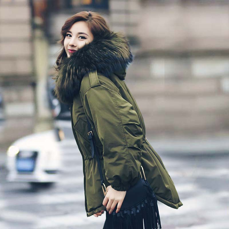 Winter Jacket Coat Women 2017 Natural Real Big Raccoon Fur Collar Hooded Outerwear Parka 90% White Duck Down Jackets Army Green 2013 winter brand fashion luxury natural white fox fur collar hood denim jacket duck down jacket women outerwear s m l xl d2124