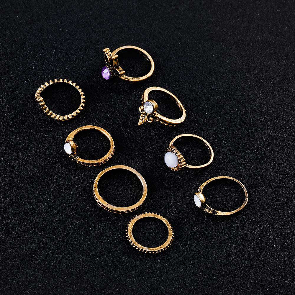 HTB1UjIPQVXXXXcZapXXq6xXFXXXZ 8-Pieces Bohemian Vintage Retro Lucky Stackable Midi Ring Set For Women - 2 Colors