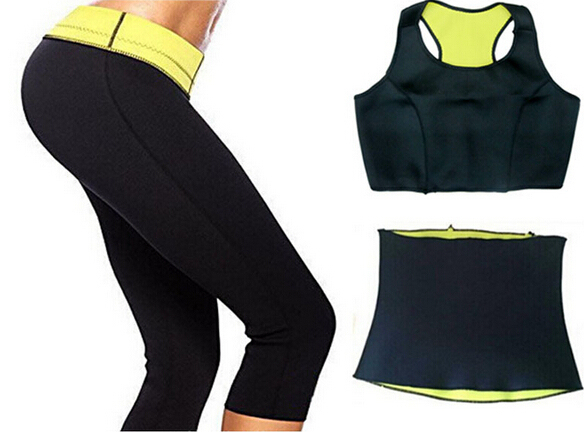 (Pantalones + chaleco + cintura) Venta CALIENTE Super neopreno sistema de la ropa de Las Mujeres Que Adelgaza Shapers Ropa Conjuntos