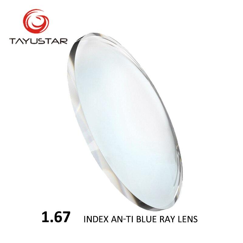 1.67 indice CR-39 Anti Blue Ray asphérique optique verres de Prescription lentille myopie presbytie lunettes de lecture verres clairs