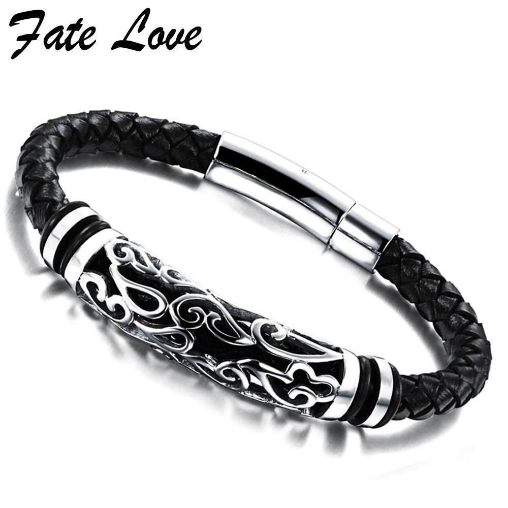 PULSERAS LEATHER BRACELET MEN JEWELRY Stainless Steel Magnetic Clasp Handmade Bracelets & Bangles Aliexpress Vintage Accessories