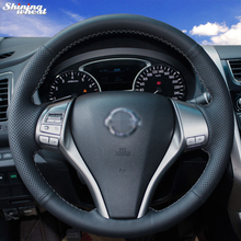 Hand-stitched Black Leather Steering Wheel Cover for Nissan 2013 Teana 2014 X-Trail QASHQAI Sentra цена