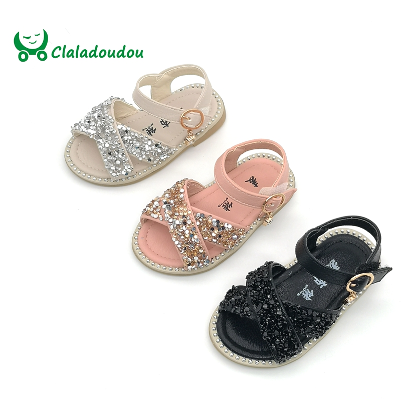 Claladoudou 11.5-15.5CM Baby Bling Shoes Pu Leather Infant Beige Rivets Summer Sandals Kid Girls Black Princess Party Dress Shoe