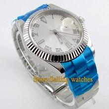 40mm parnis blanco dial cristal de zafiro automático de acero Reloj de los hombres