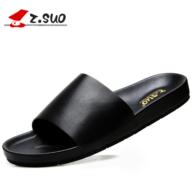4e092026a6c9b Z. Suo Summer Men s Slippers Leather Leisure Beach Slides Shoes Waterproof  Non-slip Home Indoor Sandals Male Footwear 19601