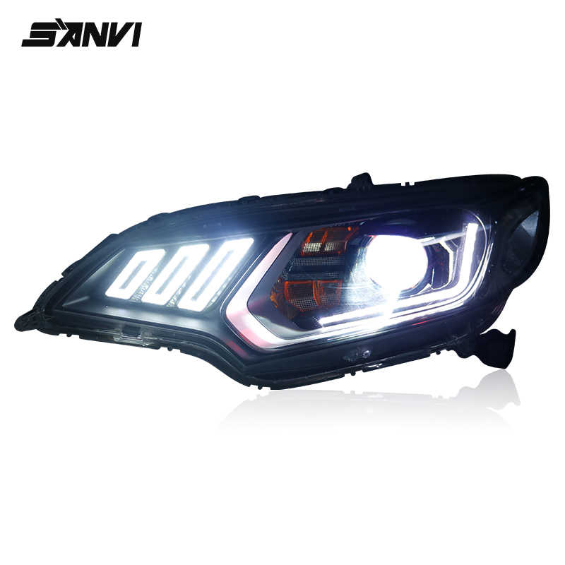 For Honda Fit 2014-2018 Headlight Assembly with Blue Hella5 Membrane Dual optical lens, Streamer LED Day Running Light Kits