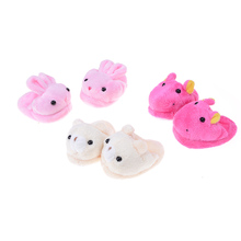 1pair Factory wholesale Cute Rose Felt Slippers For American Girls 18inch for Barbie Gril Dolls Accessories(China)