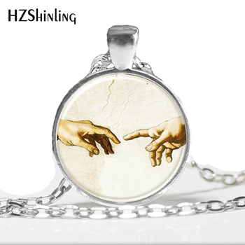 HZ--A500 New The Creation of Adam Pendant Necklace Michelangelo Jewelry Glass Photo Pendant Necklace HZ1 image