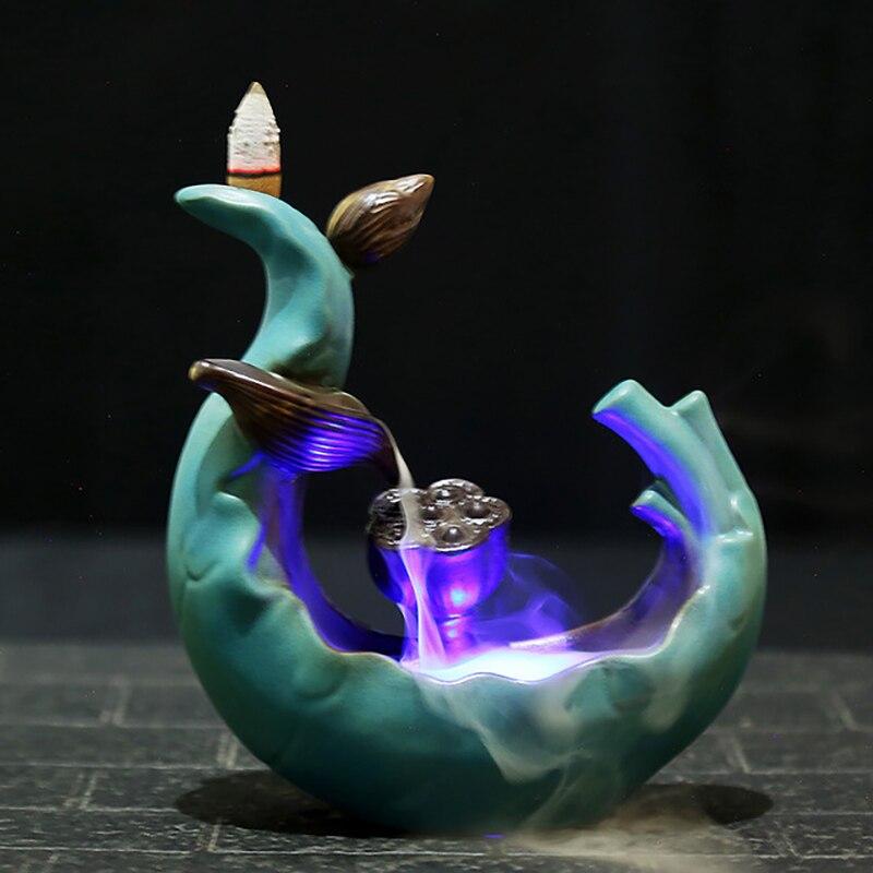 DMWOVB LED Backflow Incense Burner Ceramic Antique Creative Lotus Pond Moonlight Aromatherapy Furnace Censer Use In Home Decor in Incense Incense Burners from Home Garden