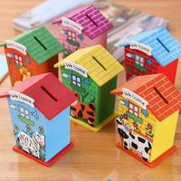 1pc Handmade Wooden Coin House Piggy Bank Chalet Save Money Base Art Decor Children Baby Toy