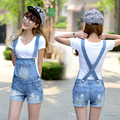 fashion new summer women students loose denim overalls big yards casual shorts suspenders  women
